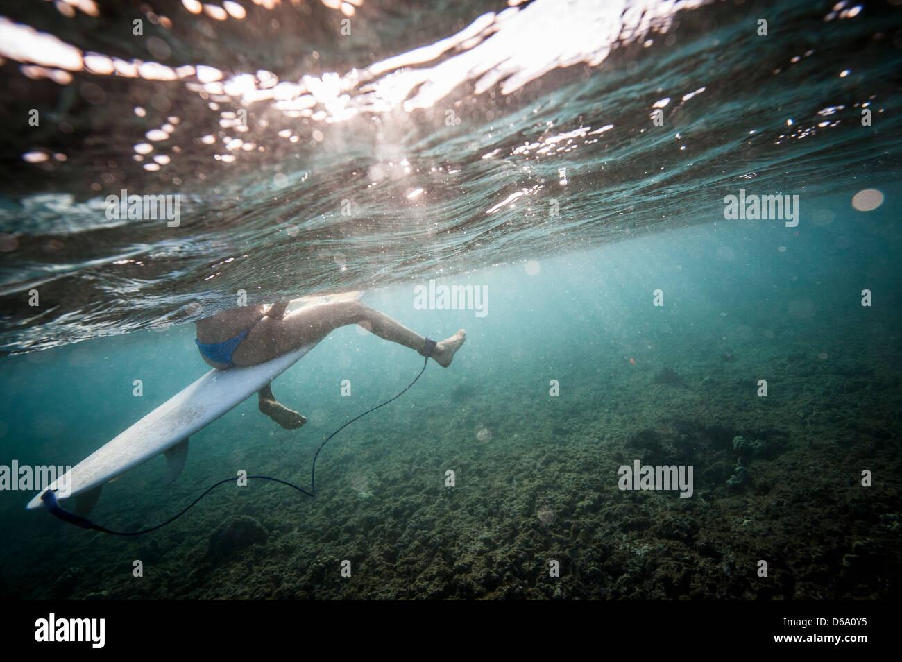 Surfer im Wasser an Bord sitzen Stockbild
