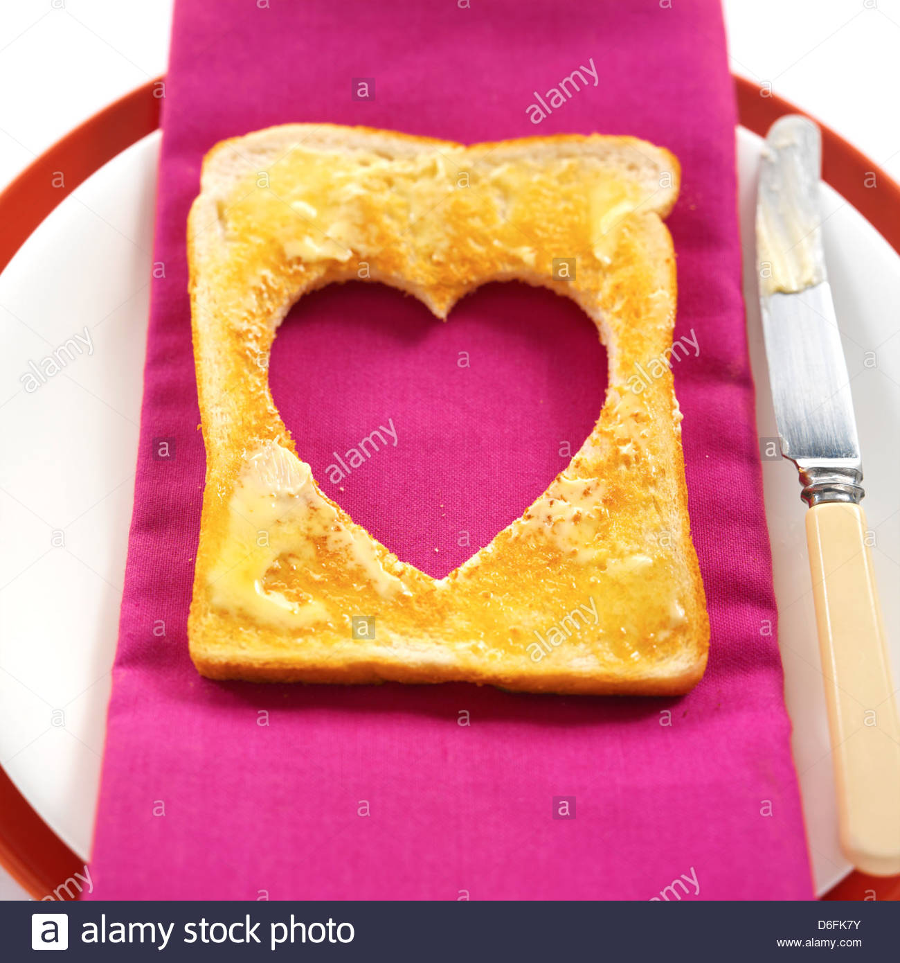 Toast in Herzform Stockbild