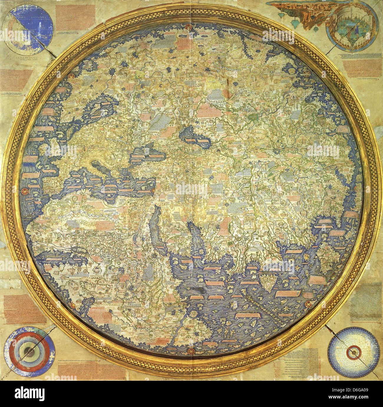 FRA MAURO Karte gezeichnet im Jahre 1450 von venezianischen Mönch (Bruder) Fra Mauro Stockbild