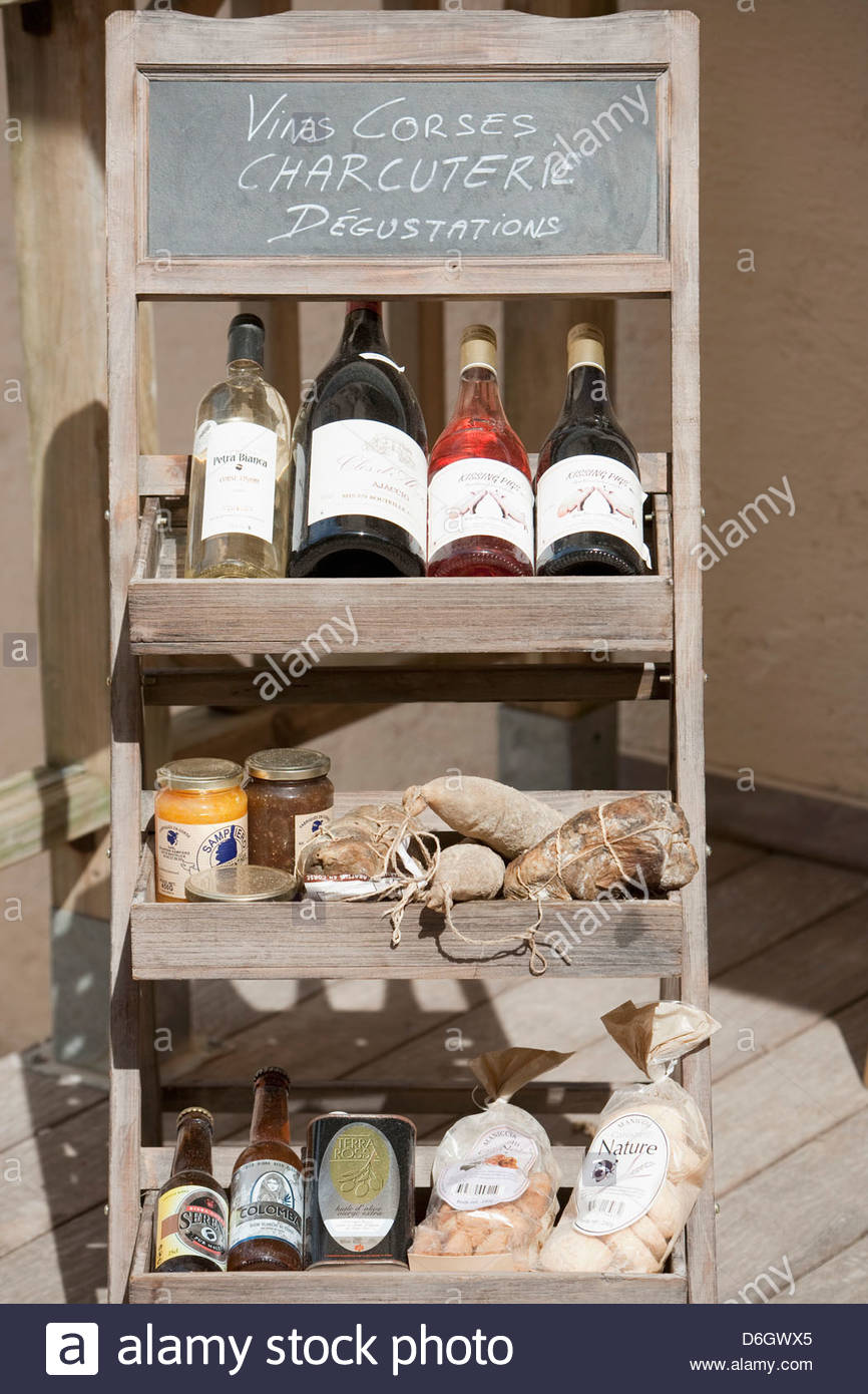Traditionelles Cosican Essen trinken Bonifacio Korsika anzeigen Stockbild