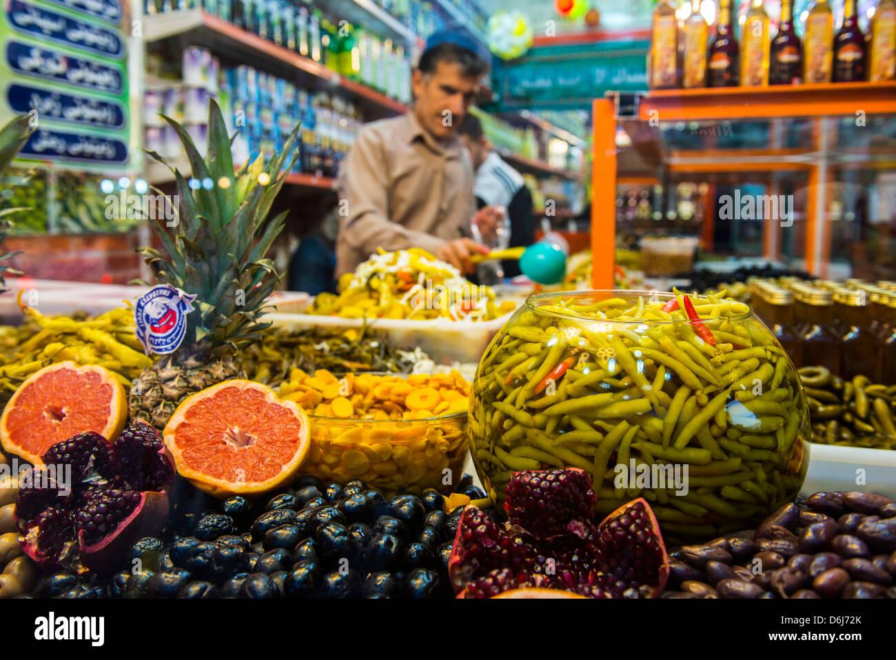 Kurdische Essen im Basar von Sulaymaniyah, Kurdistan-Irak, Irak, Nahost Stockbild