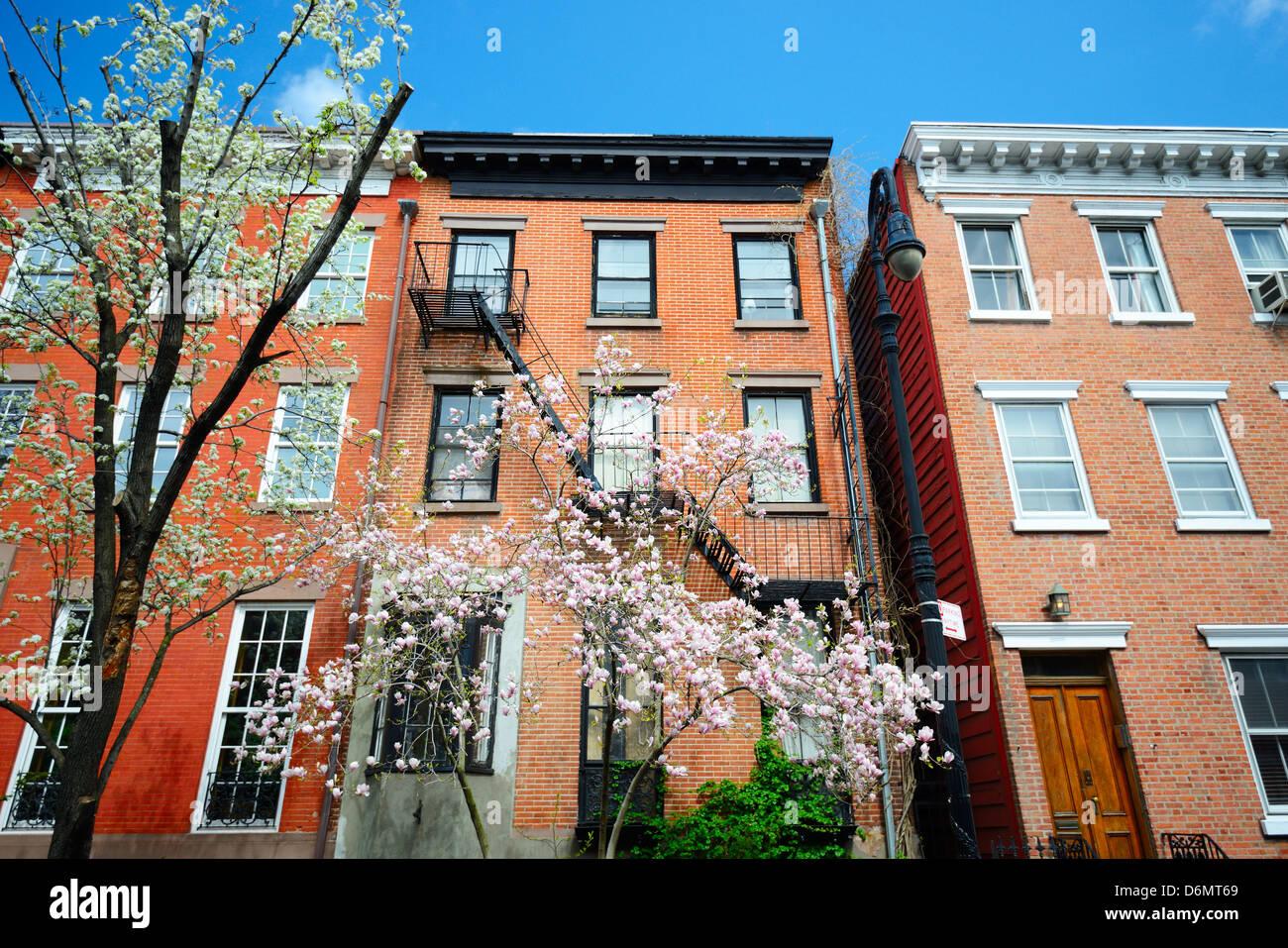 West Village New York City Apartments im Frühling Stockbild