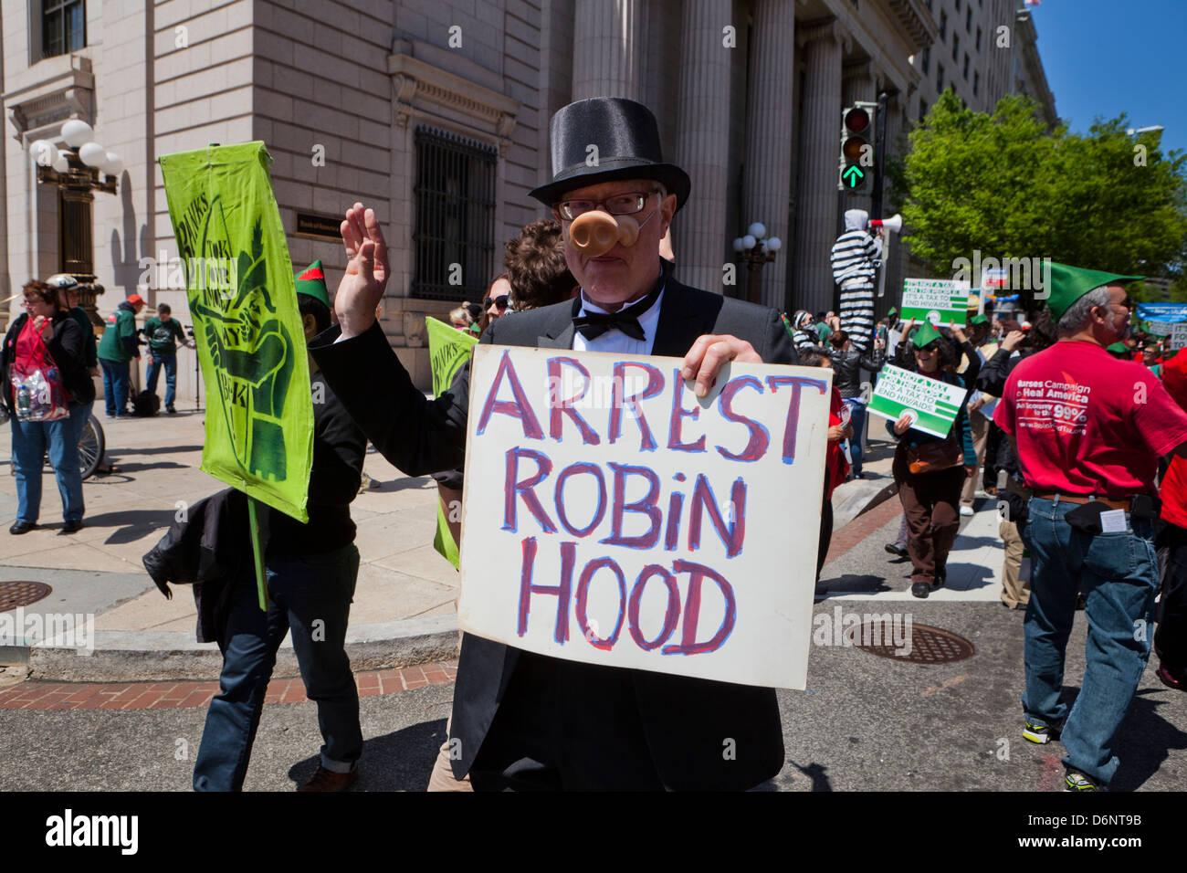 Robin-Hood-Steuer Anhänger Rallye - Washington, DC USA Stockbild