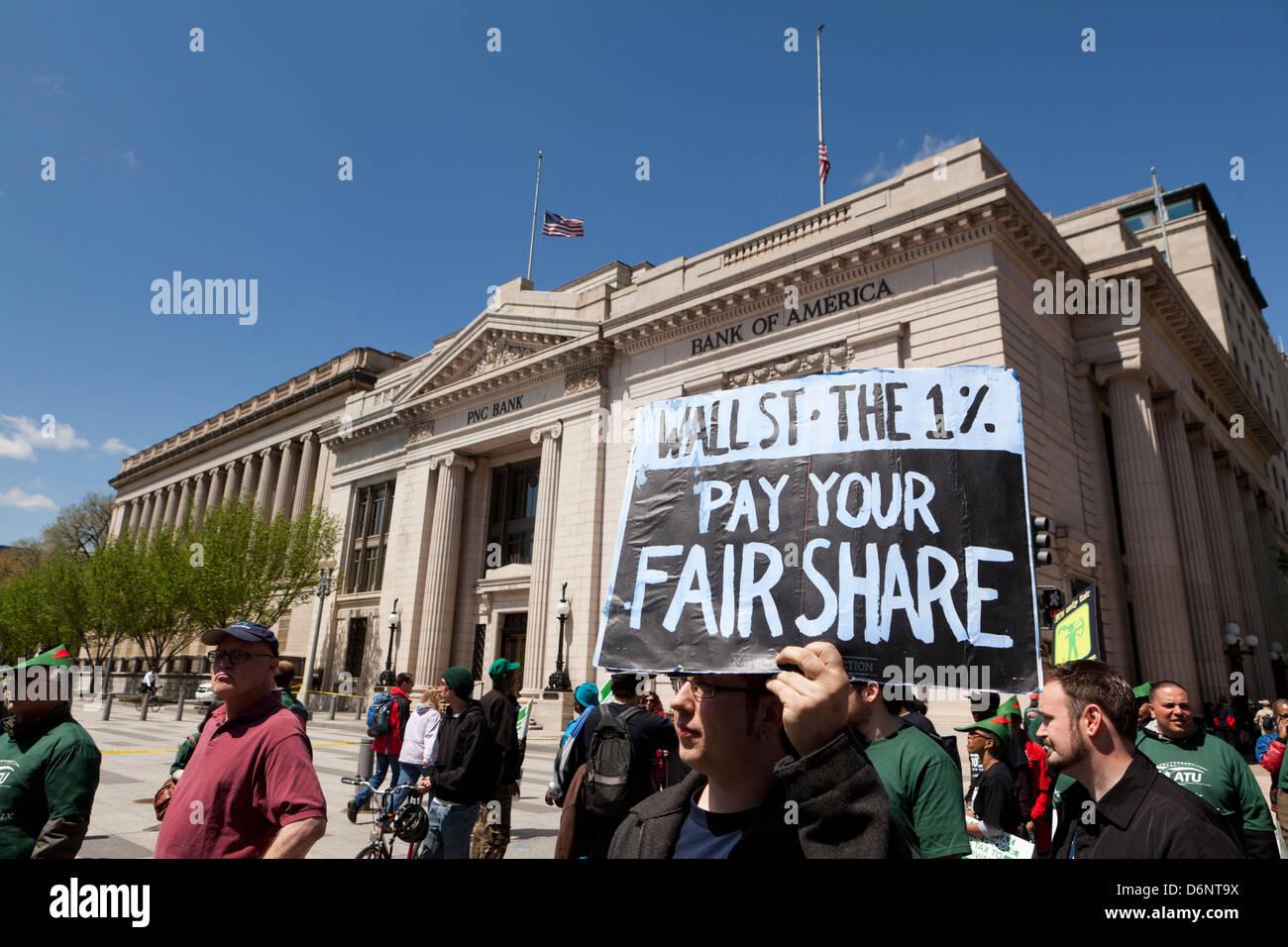 Robin-Hood-Steuer Anhänger Kundgebung in Washington DC Stockbild