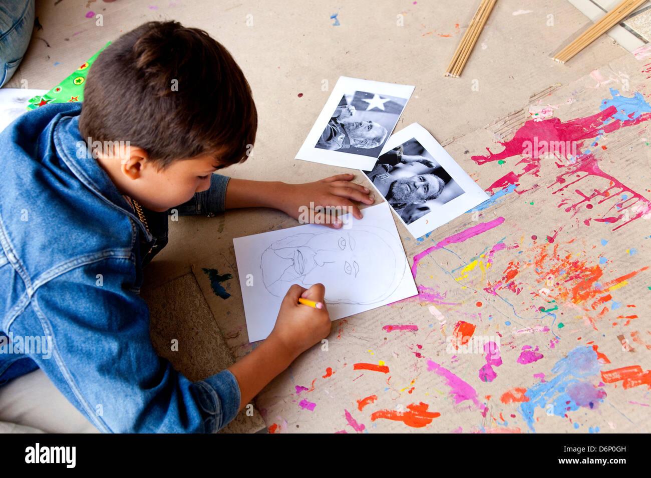 Kind-Malerei-Porträt von Fidel Castro. Kubanische Havanna, La Habana, Cuba, Südamerika, Lateinamerika Stockbild
