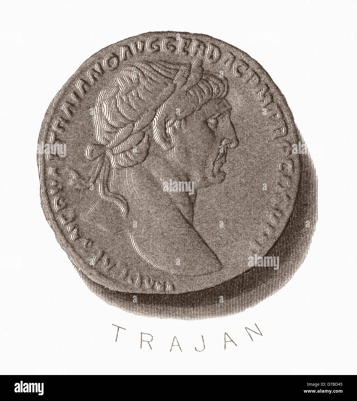 Trajan, 53 AD ?117 AD. Römischer Kaiser Stockbild