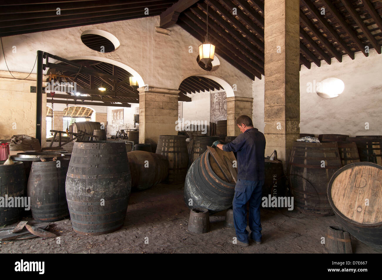 Gonzalez Byass Weingut-Reparatur von Fässern, Jerez De La Frontera, Provinz Cádiz, Region Andalusien, Stockbild
