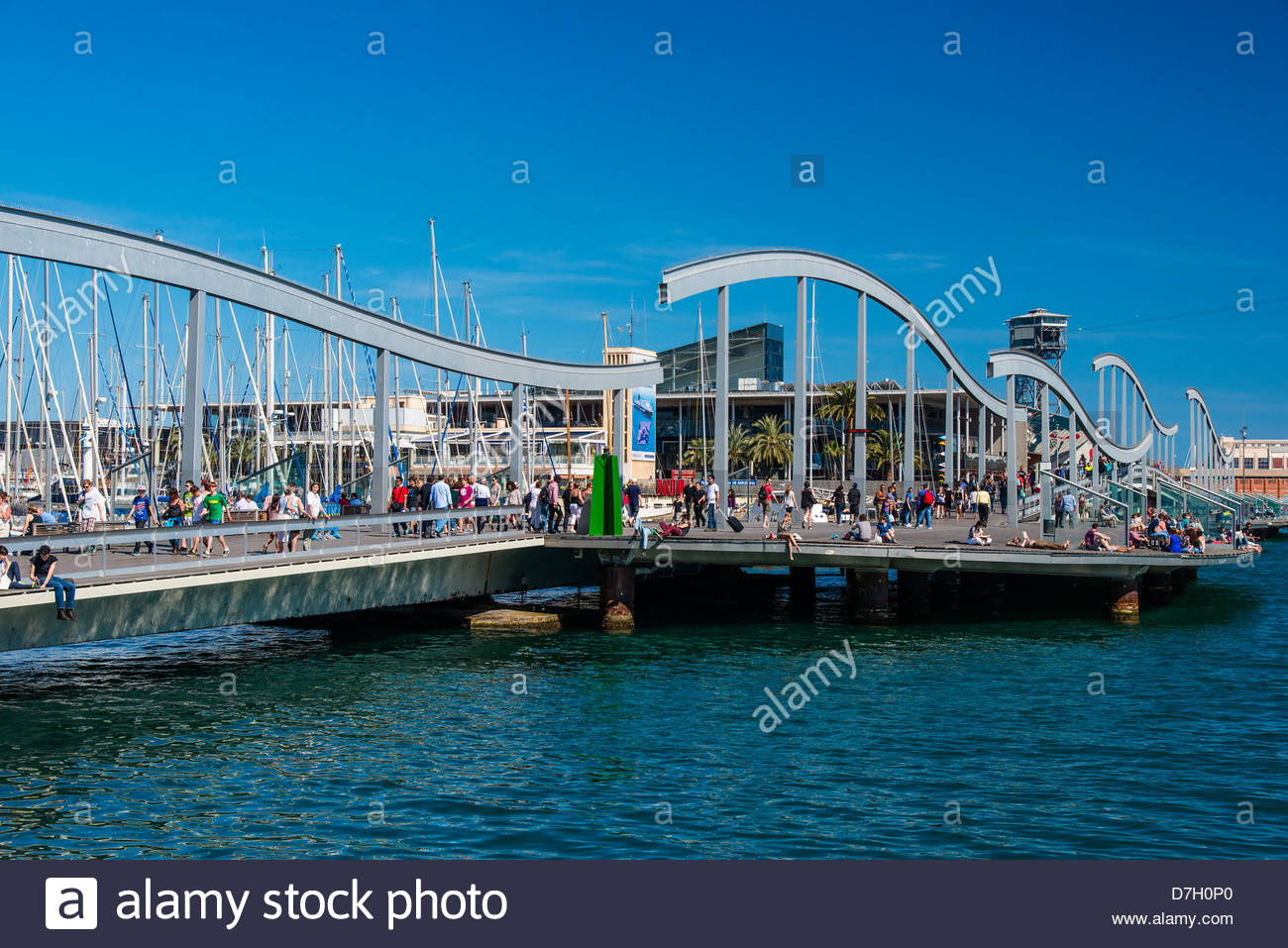 Rambla del Mar, Port Vell Barcelona, Katalonien, Spanien Stockbild