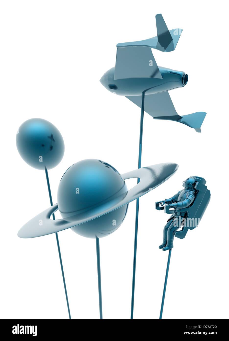Weltraumtourismus, konzeptuellen Kunstwerk Stockbild