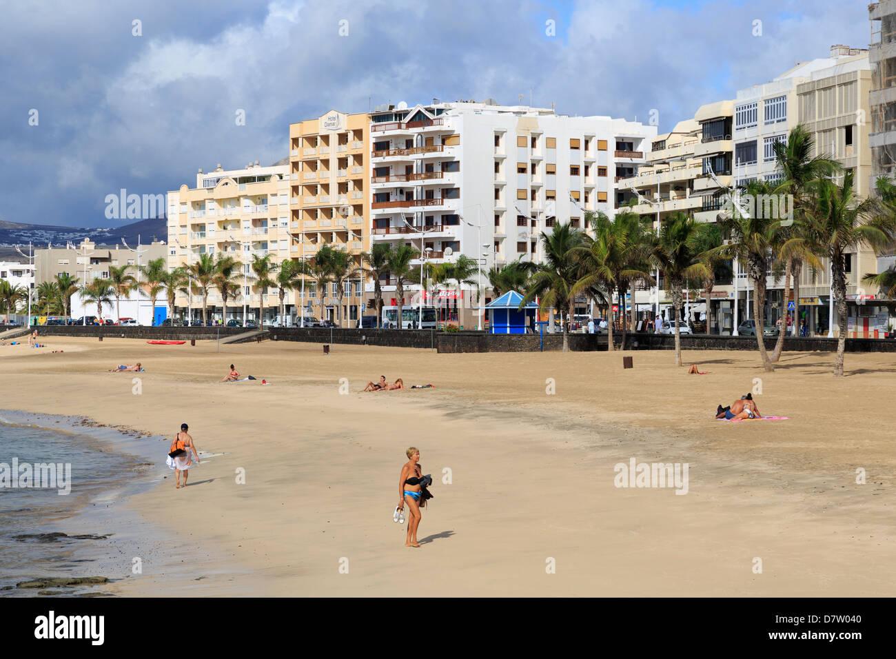 Reducto Strand, Arrecife, Lanzarote Insel, Kanaren, Spanien, Atlantik Stockbild
