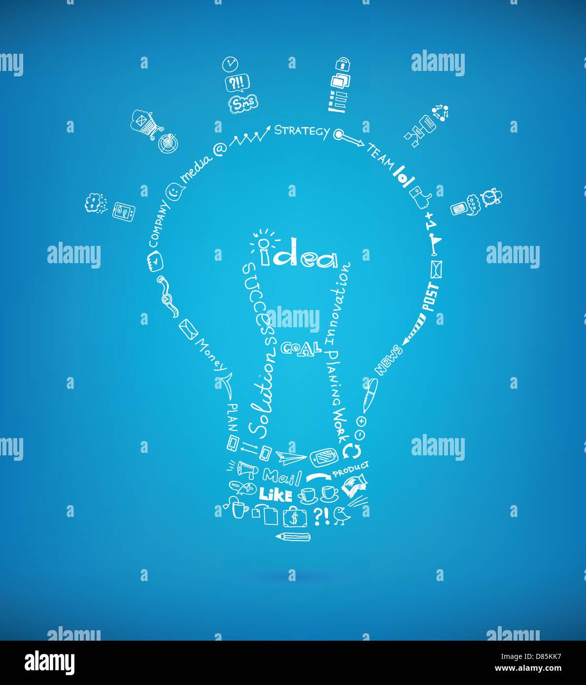 Vektor-Glühbirne von vielen Hand gezeichnete Skizze und Kritzeleien Designelemente auf blauem Hintergrund erstellt. Stockbild