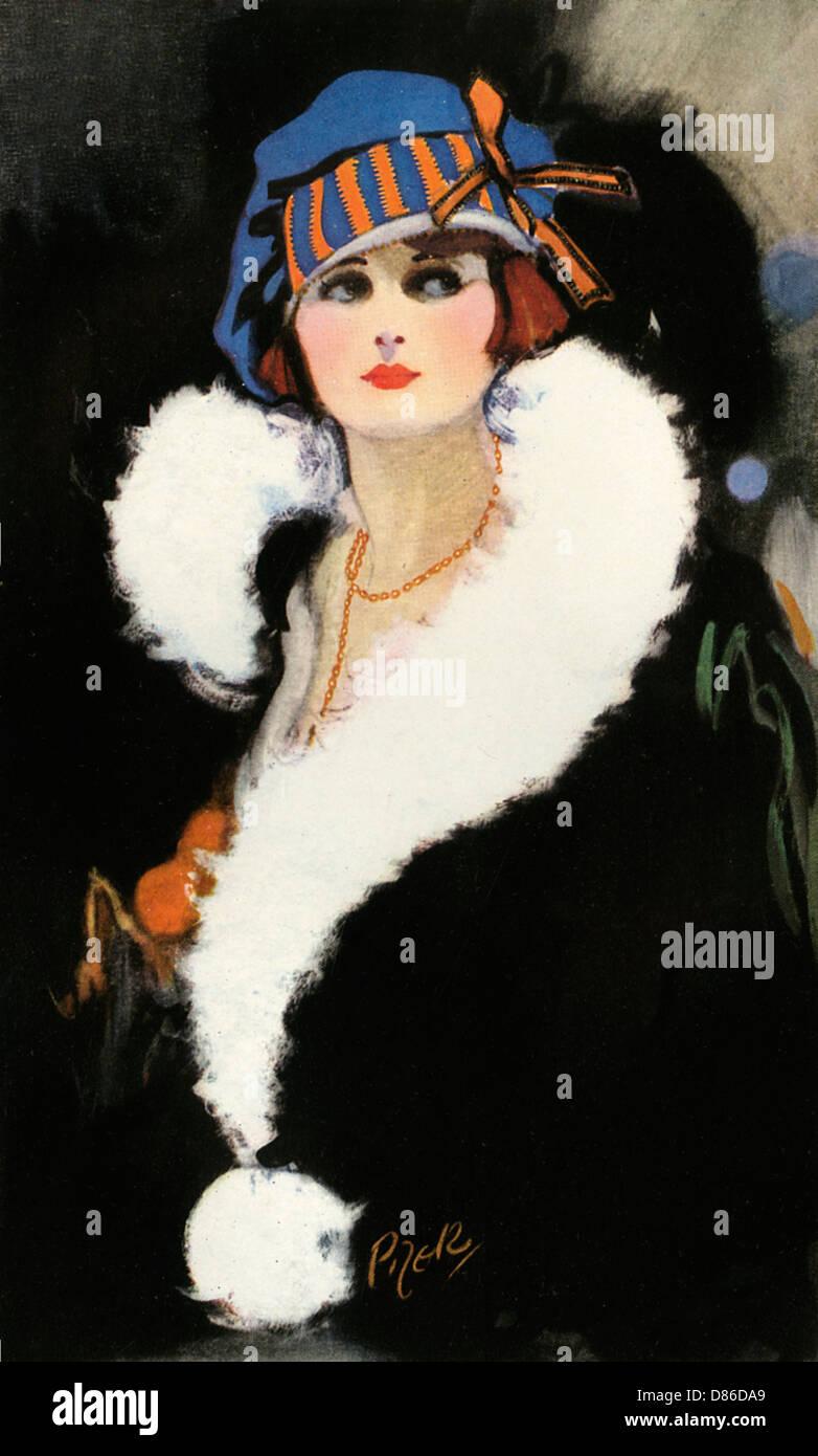 Porträt einer Frau In den 1920er Jahren 30er Jahre Kleidung Stockbild