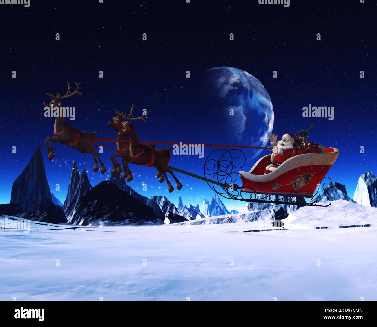 reindeer sleigh fly stockfotos reindeer sleigh fly. Black Bedroom Furniture Sets. Home Design Ideas