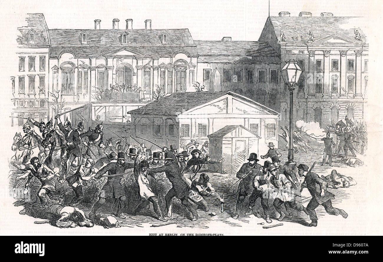 Revolution in Deutschland. Konflikt zwischen Soldaten und Bürger in die Domhofs Platz, Berlin, 28. Mai 1849. Stockbild
