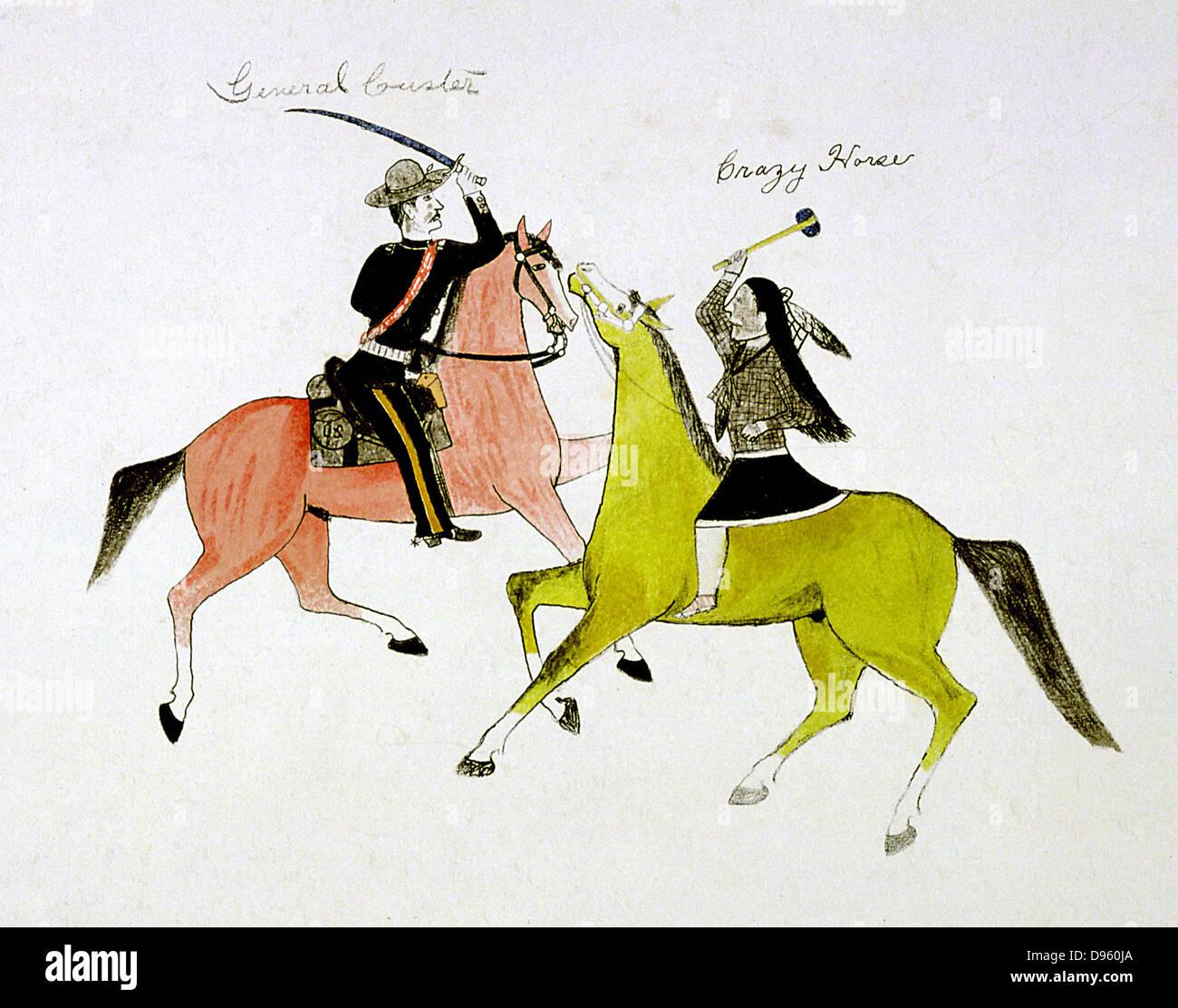 Konflikt zwischen General George Custer (1839-76) und Crazy Horse (Sioux Indianer). Malerei auf Stoff von tötet Stockbild