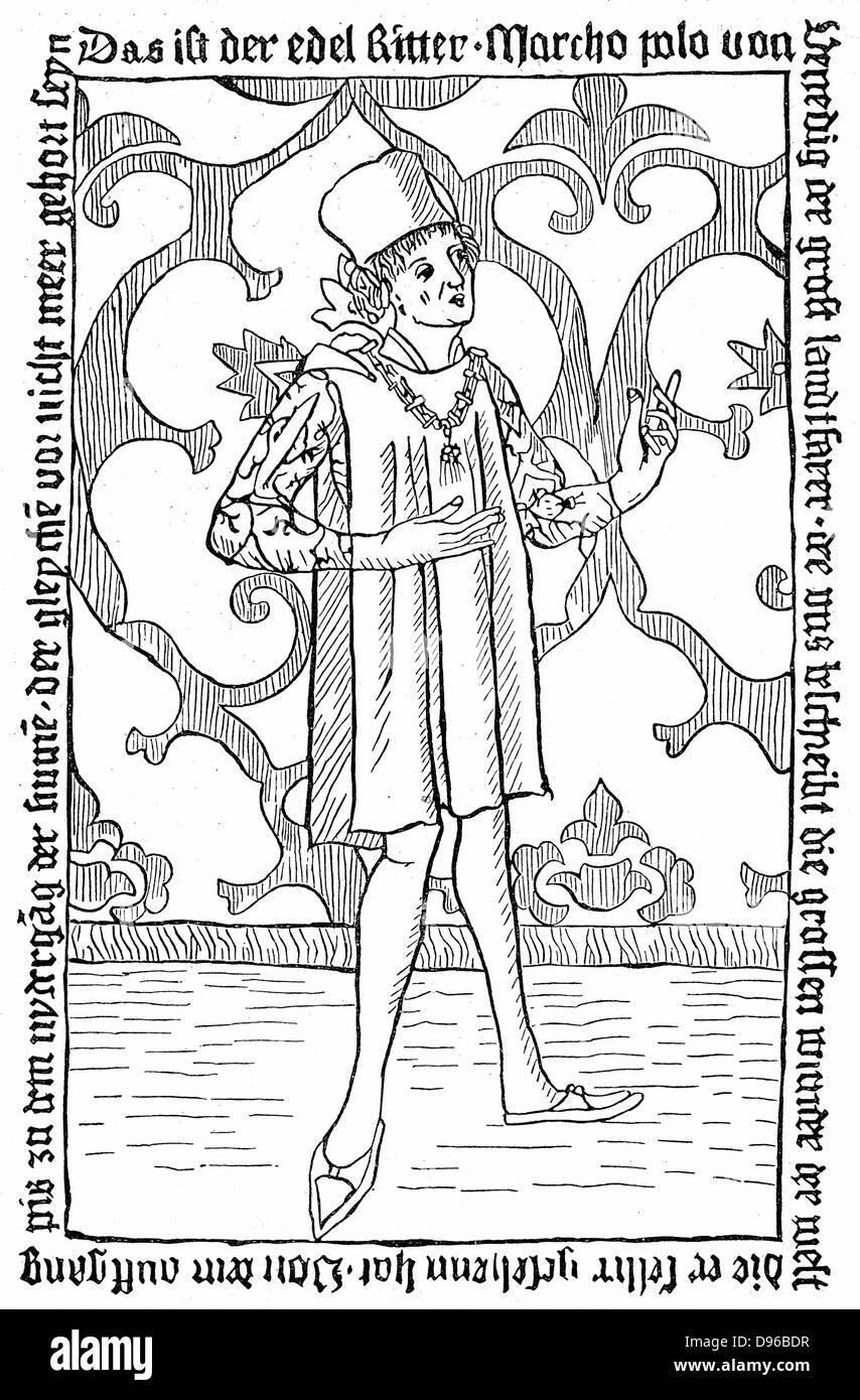 Marco Polo (1254-1324), venezianischer Kaufmann und Reisender. Undatierte Holzschnitt. Stockbild