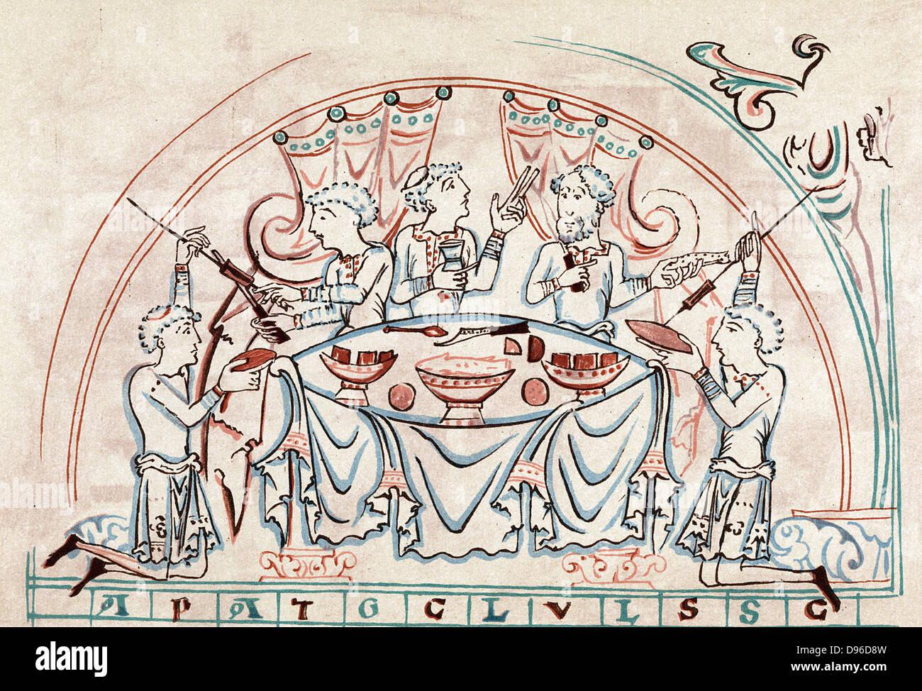 Bankett. Farblitho nach englischen Psalter 11. Jahrhundert Stockbild