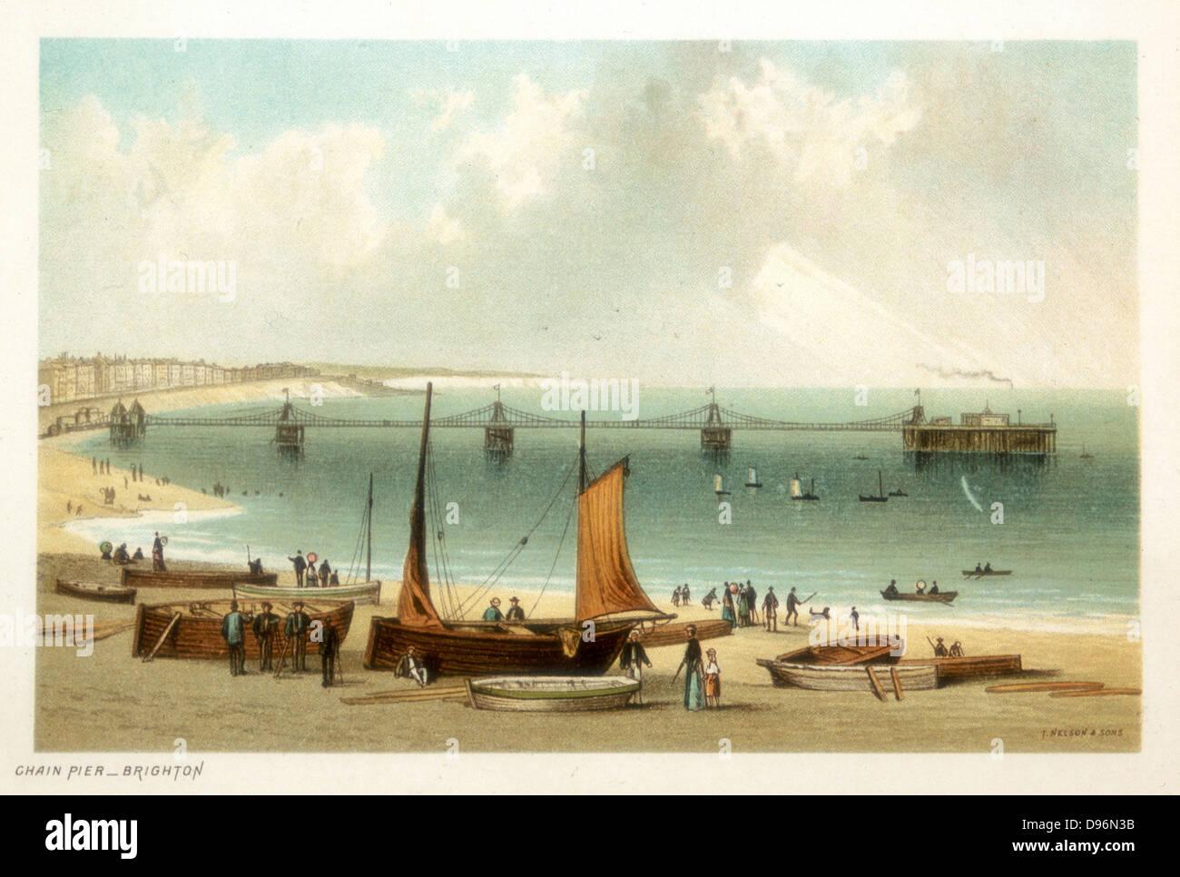 Chain Pier, Brighton, Sussex. Originaldesign von Samuel Brown, Royal Navy, eröffnet im November 1823, überlebte Stockbild