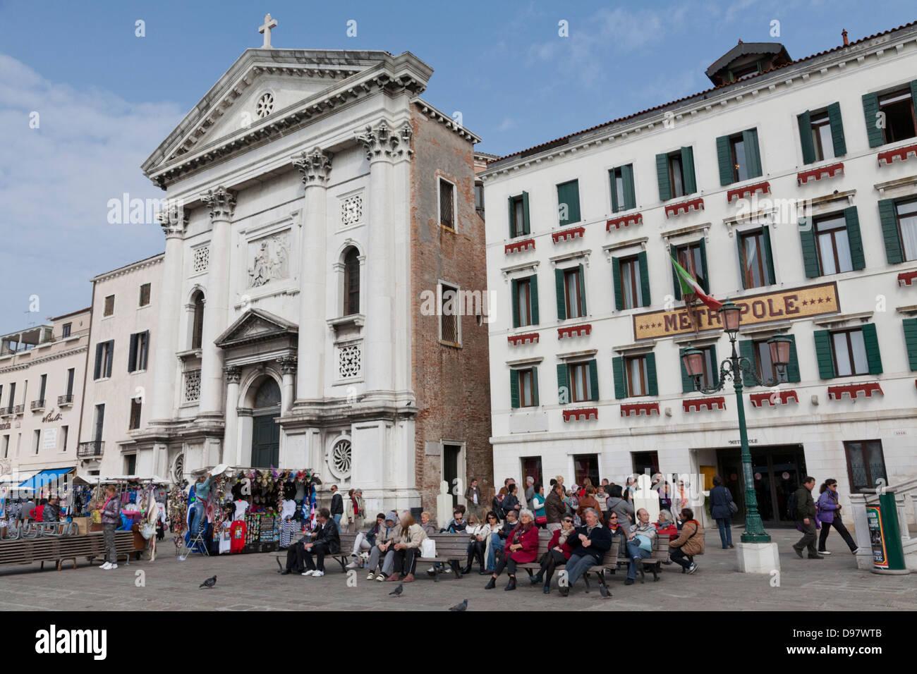 Hotel Metropole, Riva Degli Schiavoni, Venedig, Italien Stockbild
