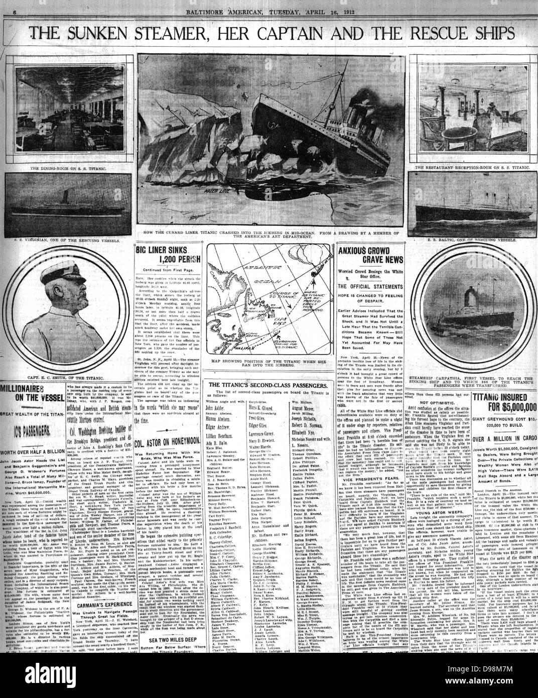 Zeitung Berichterstattung über den Untergang der Titanic im Jahr 1912 Stockbild