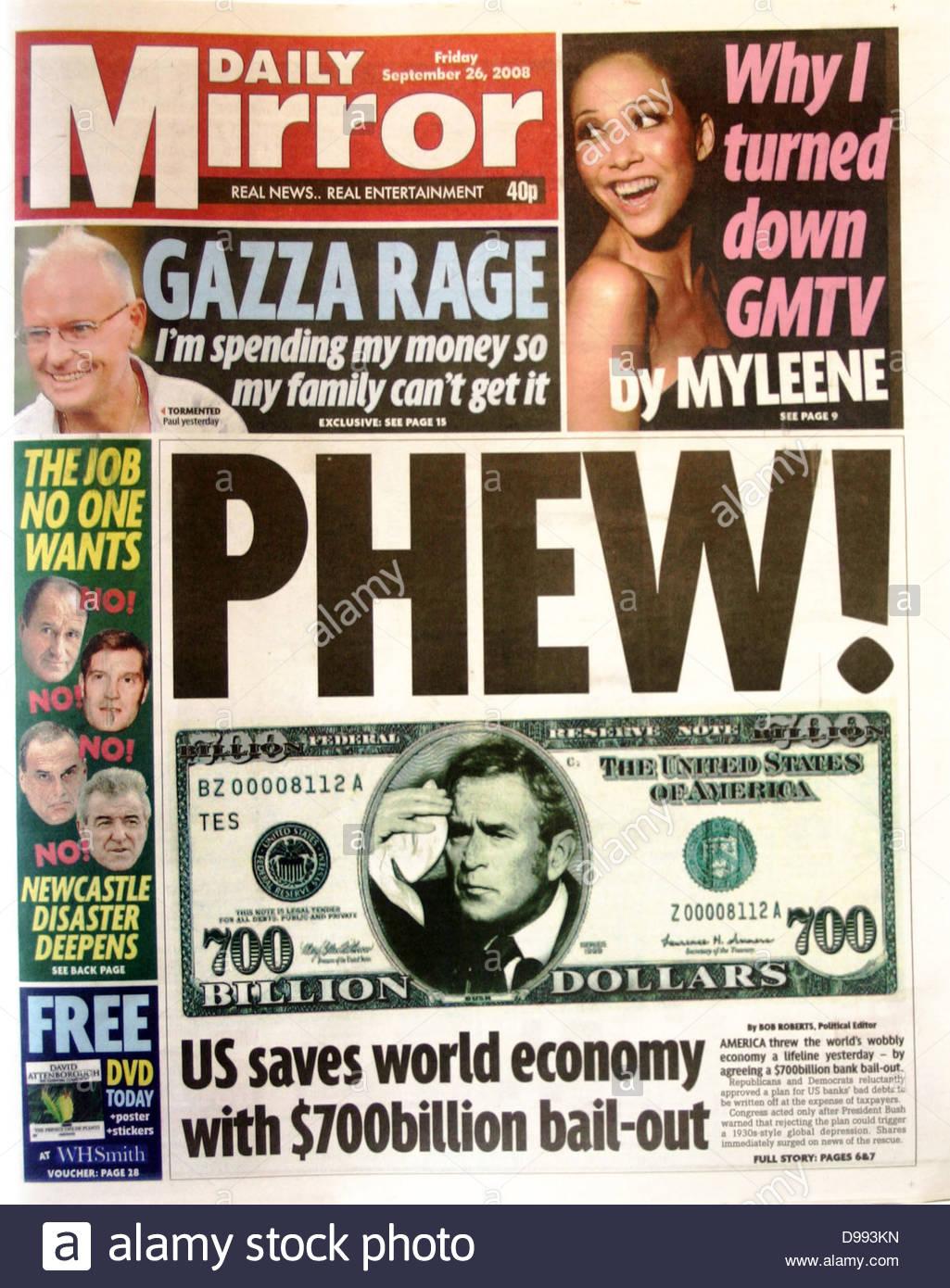 """Titelseite der Zeitung """"The Mirror"""" 26. September 2008. Lead Story ist der Zusammenbruch der Börse Stockbild"""