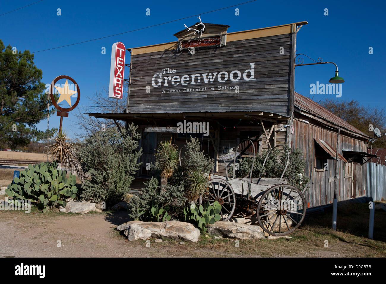 Greenwood Dancehall und Saloon, Bluff Dale, Texas, Vereinigte Staaten von Amerika Stockbild