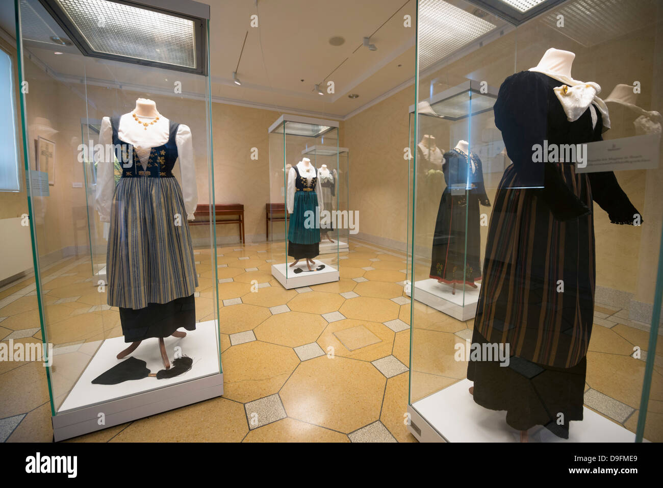 Anzeige der traditionellen Kleidung, Nationalmuseum, Reykjavik, Iceland, Polarregionen Stockbild