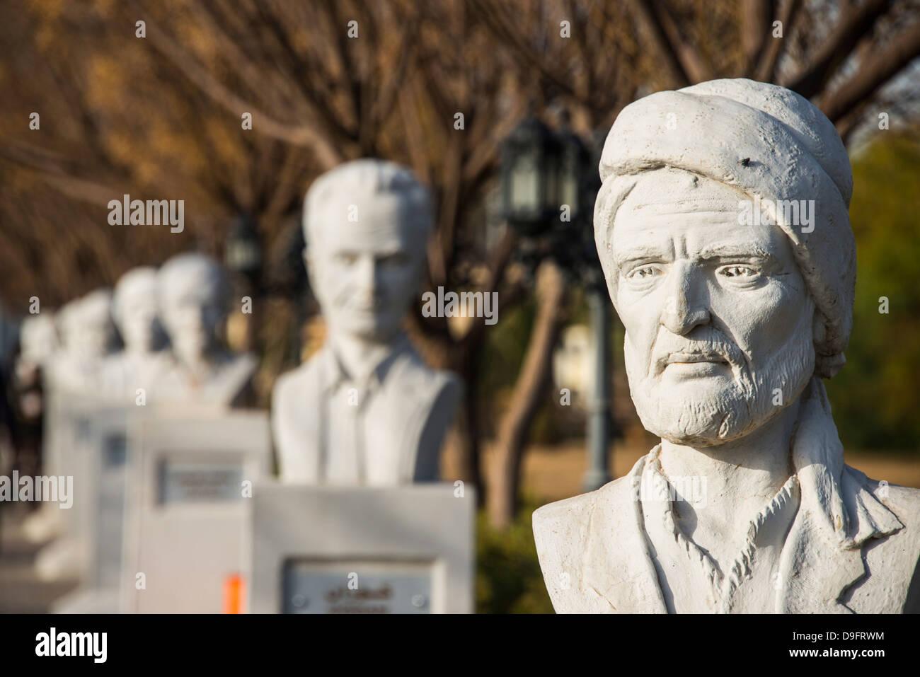 Statue-Gasse im Minare Park und Shanadar Park in Erbil (Hawler), Hauptstadt von Kurdistan-Irak, Irak, Naher Osten Stockbild