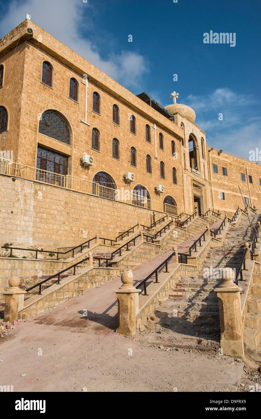 Syrische orthodoxe Kloster Mar Mattai, (St. Matthews Monastery) mit Blick auf Mosul, Irak, Nahost Stockbild