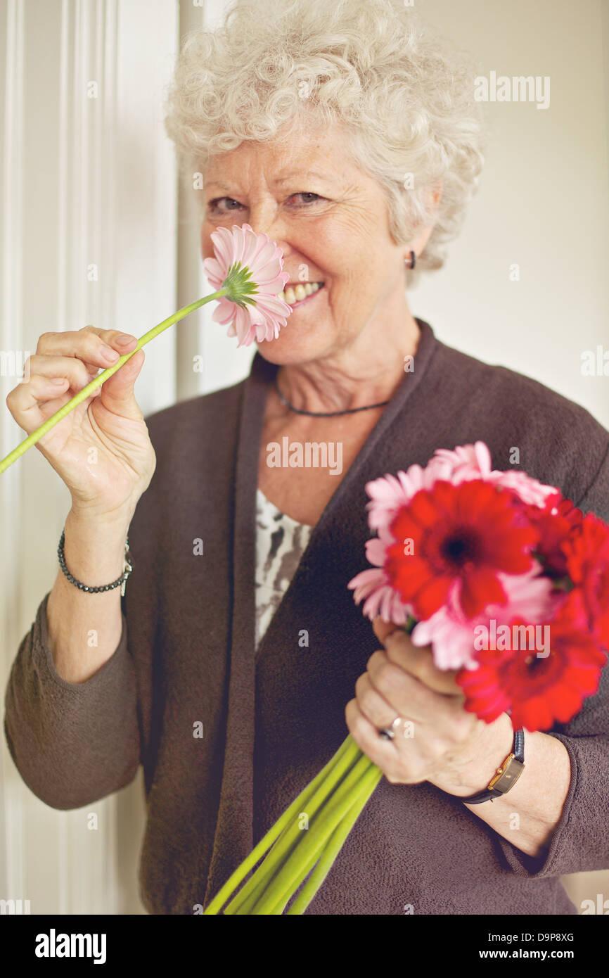 Fröhliche Senioren Dame riechen eine Blume im Innenbereich Stockbild