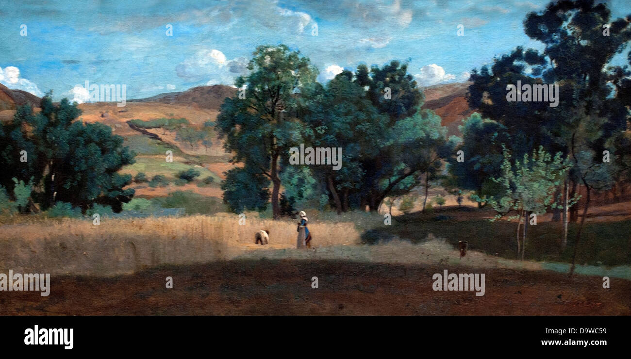 Champ de Ble Dans le Morvan - Weizenfeld im Morvan 1842 Jean-Baptiste Camille Corot 1796-1875 Frankreich Stockfoto
