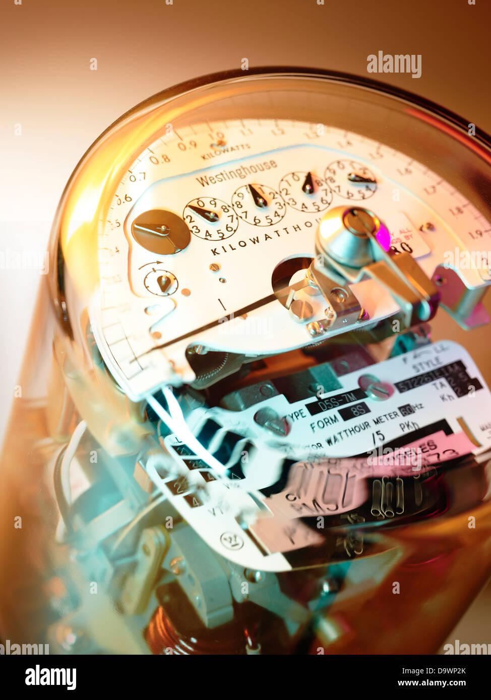 Stromzähler hautnah Stockbild
