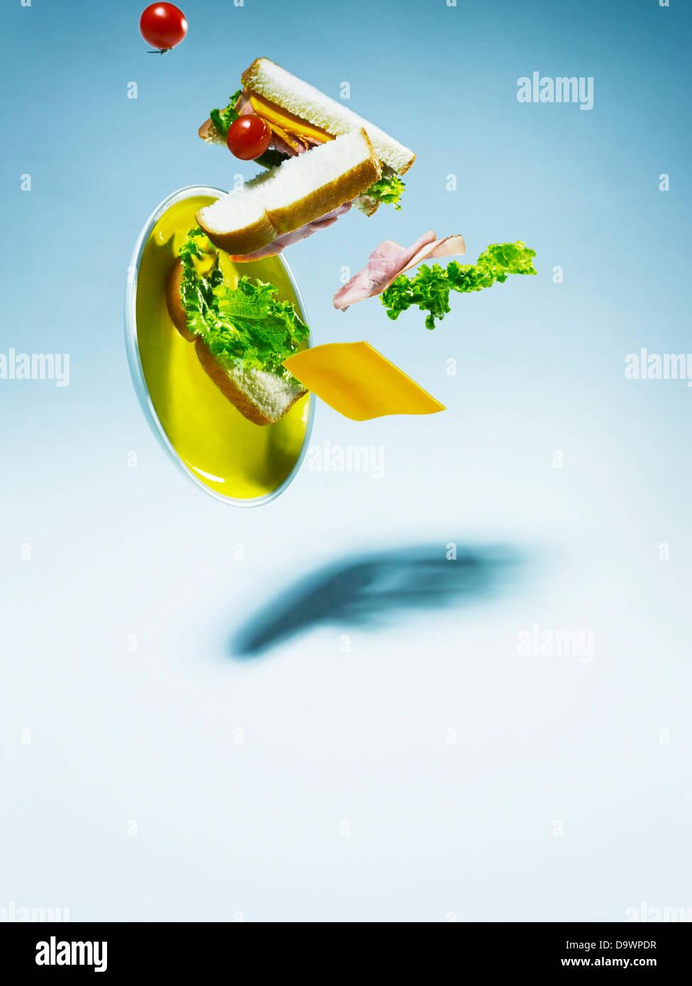 sinkende sandwich Stockbild