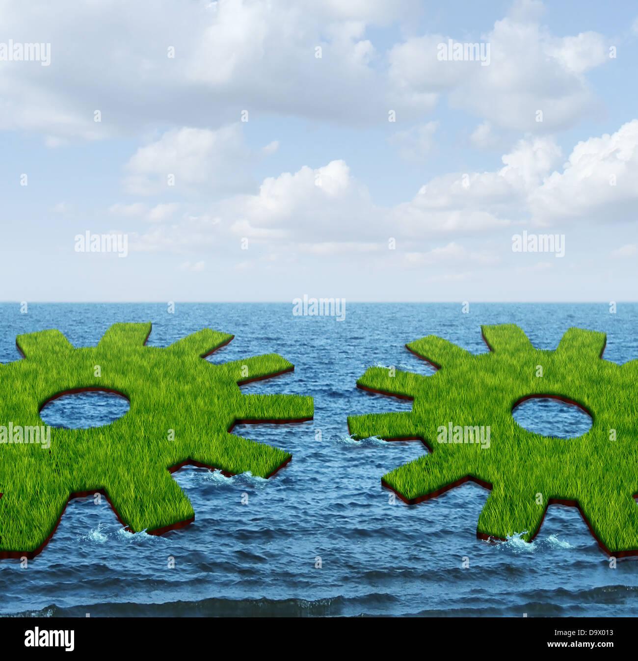 Weltweite Geschäftsbeziehungen mit zwei grünen Rasen Inseln schwimmend auf dem Ozean, geformt wie ein Stockbild