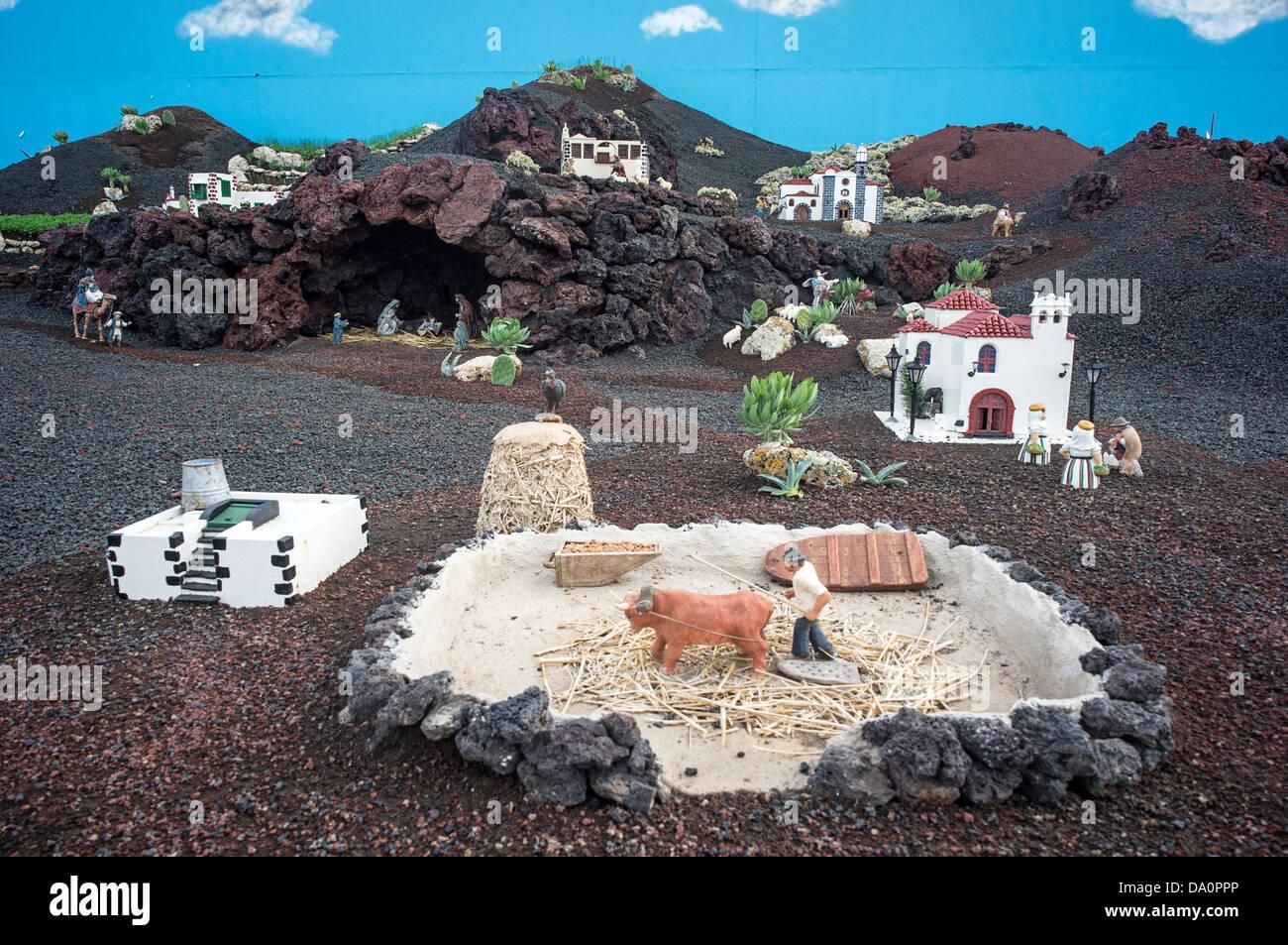 Weihnachtskrippe in Yaiza, Lanzarote, Kanarische Inseln, Spanien Stockbild