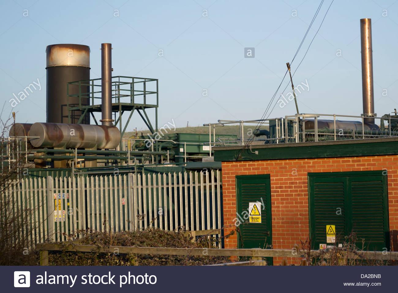 Deponie Abstraktion Gasanlage in Godmanchester, Cambridgeshire, England, Erzeugung und Lieferung von grüner Stockbild