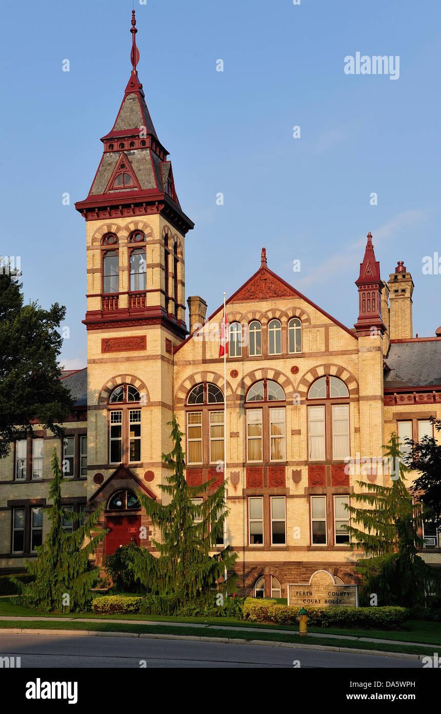 Kanada, Gothic, Gothic Revival, Ontario, Perth County Court House, Stratford, Reisen, Architektur, Ziegel, Gebäude, Stockbild