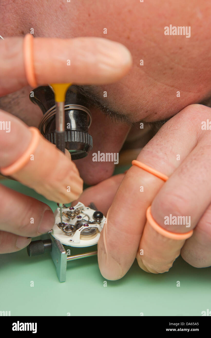 Herstellung, Jura, Arbeit, Arbeit, Beruf, Beruf, Berufe, Berufe, Kanton, JU, Jura, Uhrmacher, Uhren, Uhren, Sw Stockbild