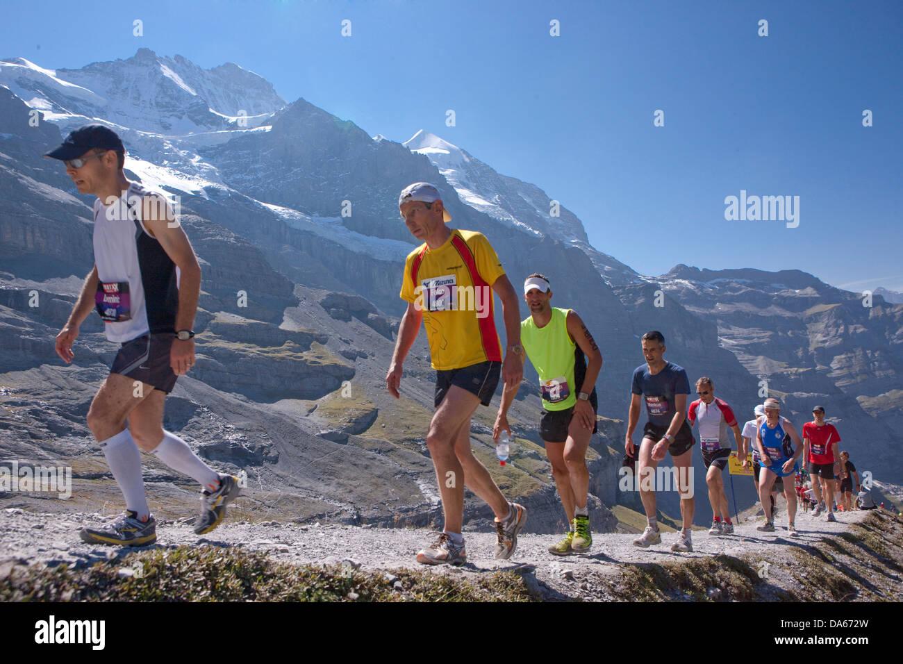 Jungfrau Marathon, Marathon, Berglauf, laufen, Sport, schönste Berglandschaft, Landschaft, Berg, Berge, Bergstraße, Stockbild
