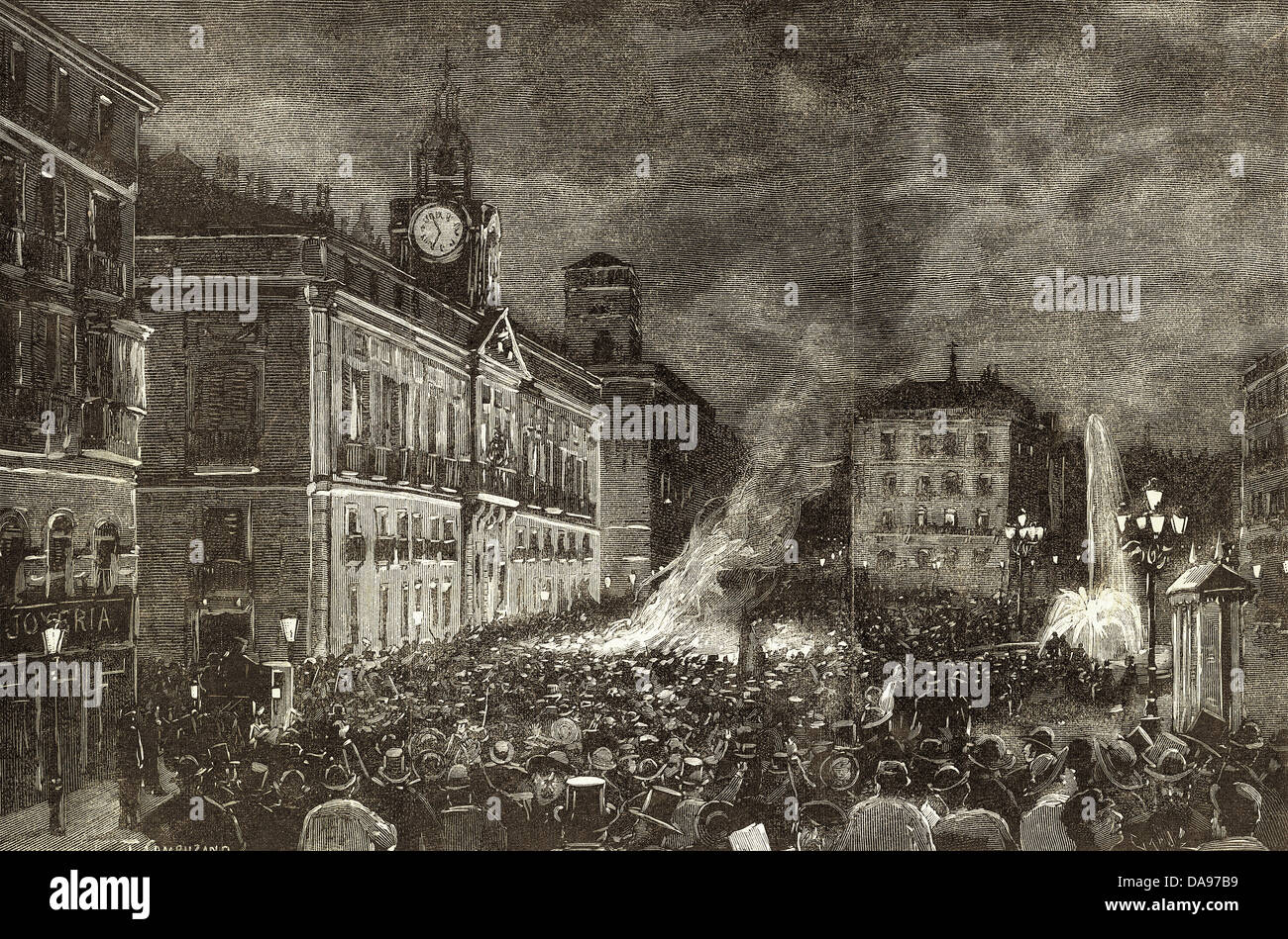 Spanien. Konflikt von den Karolinen. Patriotische Protest am Abend 4. August 1885 an der Puerta del Sol, Madrid. Stockbild