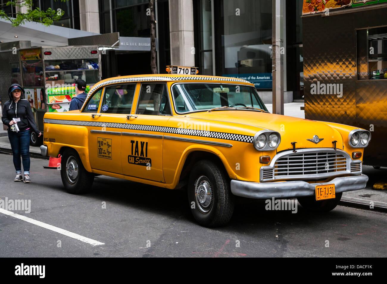 Vintage gelb New York Taxi, NYC, USA. Stockbild