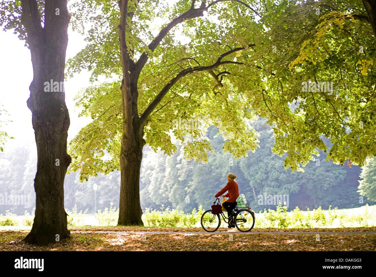 Biker auf herbstliche Lichtentaler Allee, Deutschland, Baden-Württemberg, Baden-Baden Stockbild