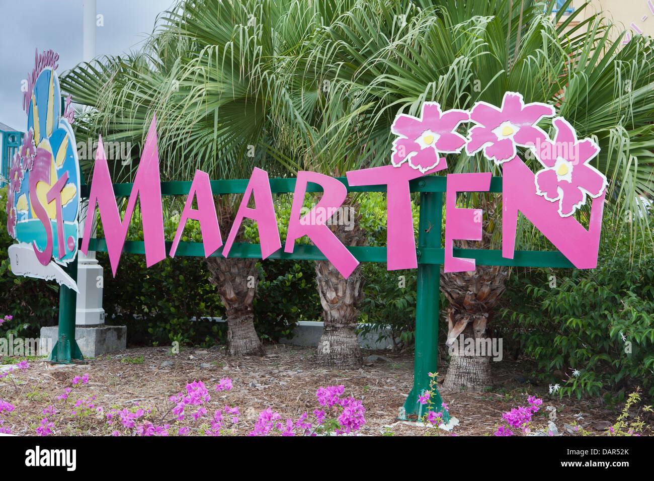Willkommen in Saint Martin Stockbild