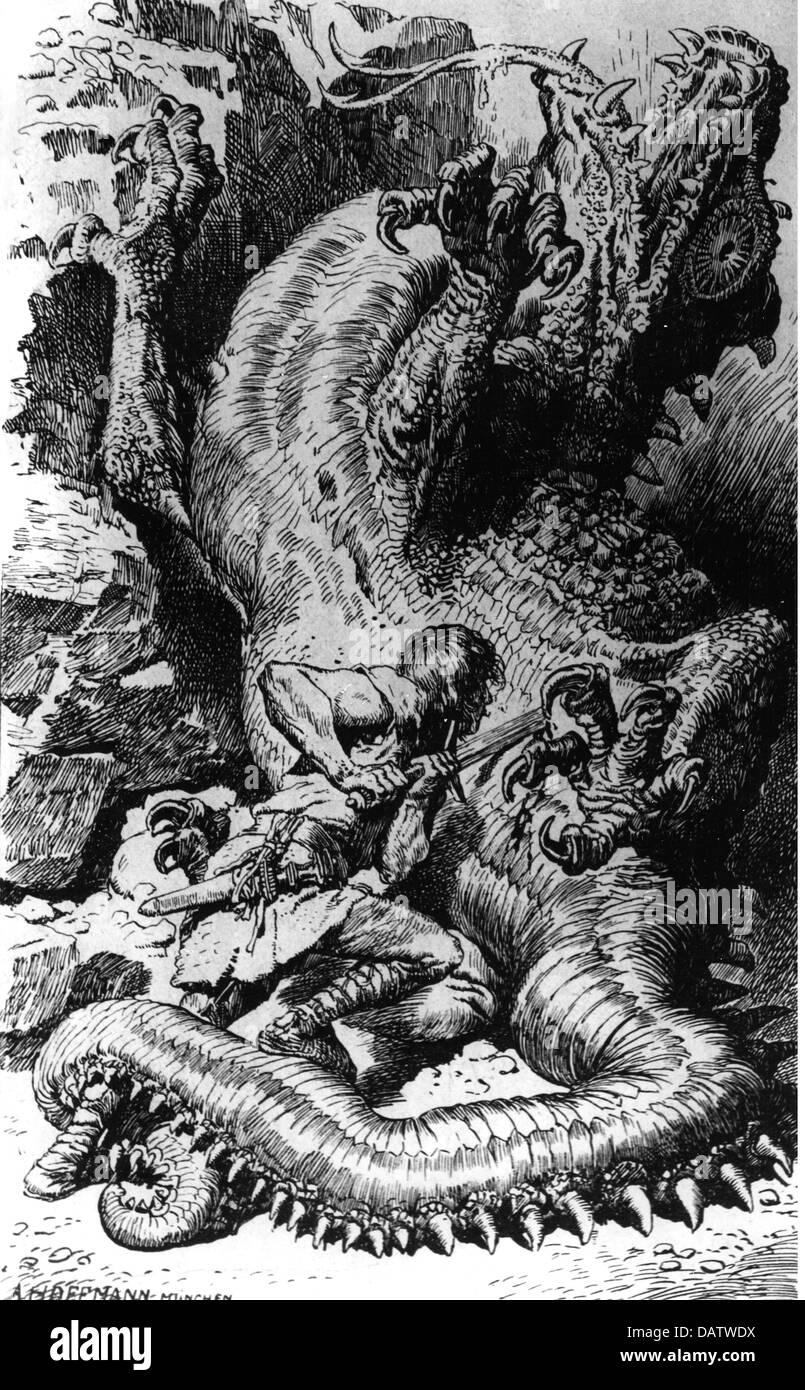 Siegfried, germanische Sagengestalt, tötet den Drachen Fafner, Zeichnung von Anton Hoffmann, 1906, Saga, Sagas, Stockbild