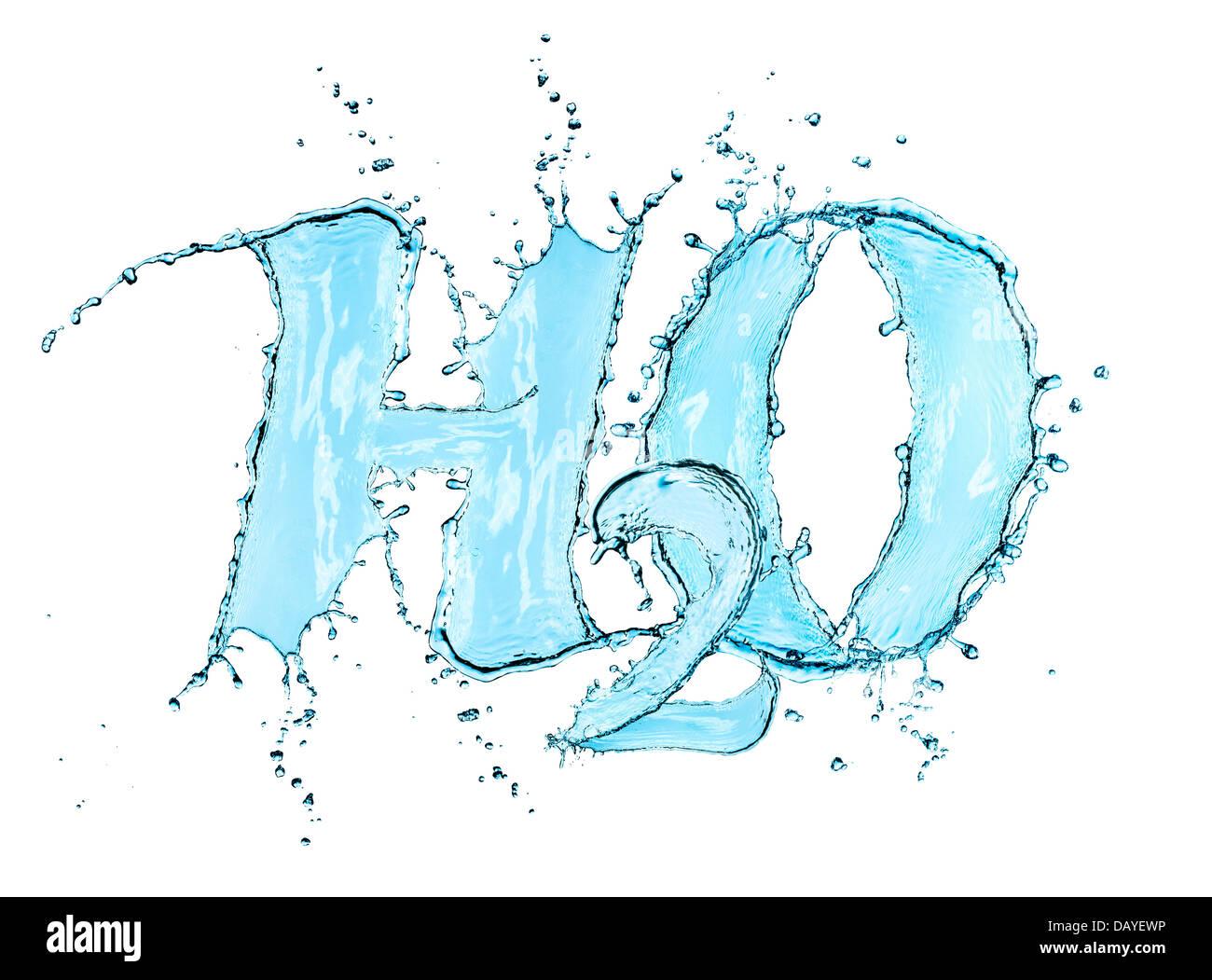 H2O Spritzer Wasser Formel isoliert auf weißem Hintergrund Stockbild