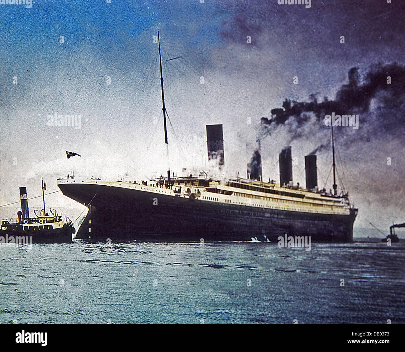 Der Verlust von Titanic Zauberlaterne schieben 1912 Stockbild
