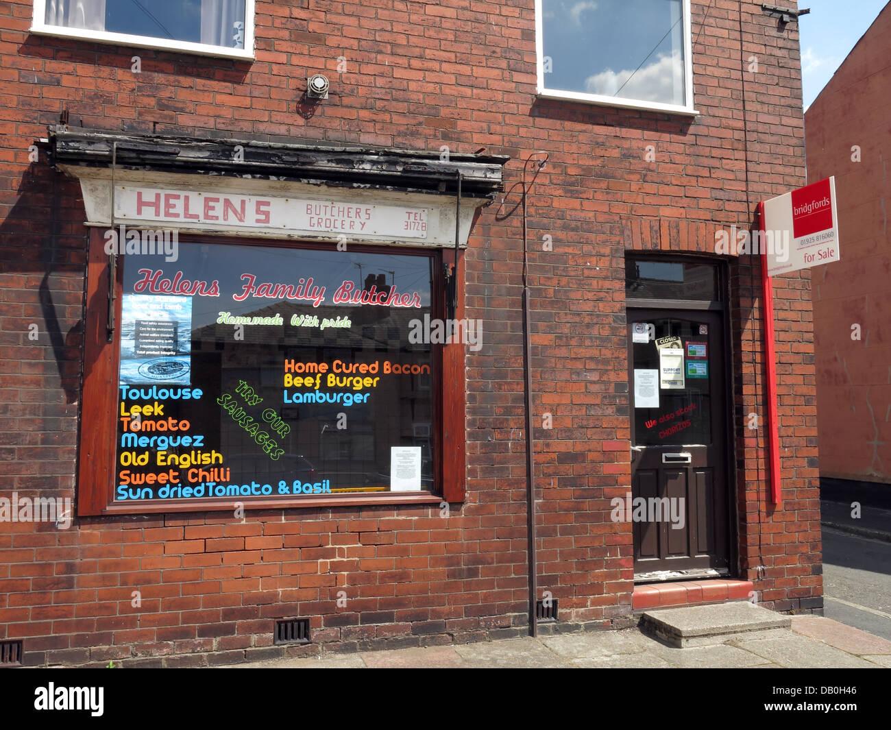 Laden Sie dieses Alamy Stockfoto Eine andere lokale Metzger zu verkaufen, Warrington Cheshire, England UK - DB0H46