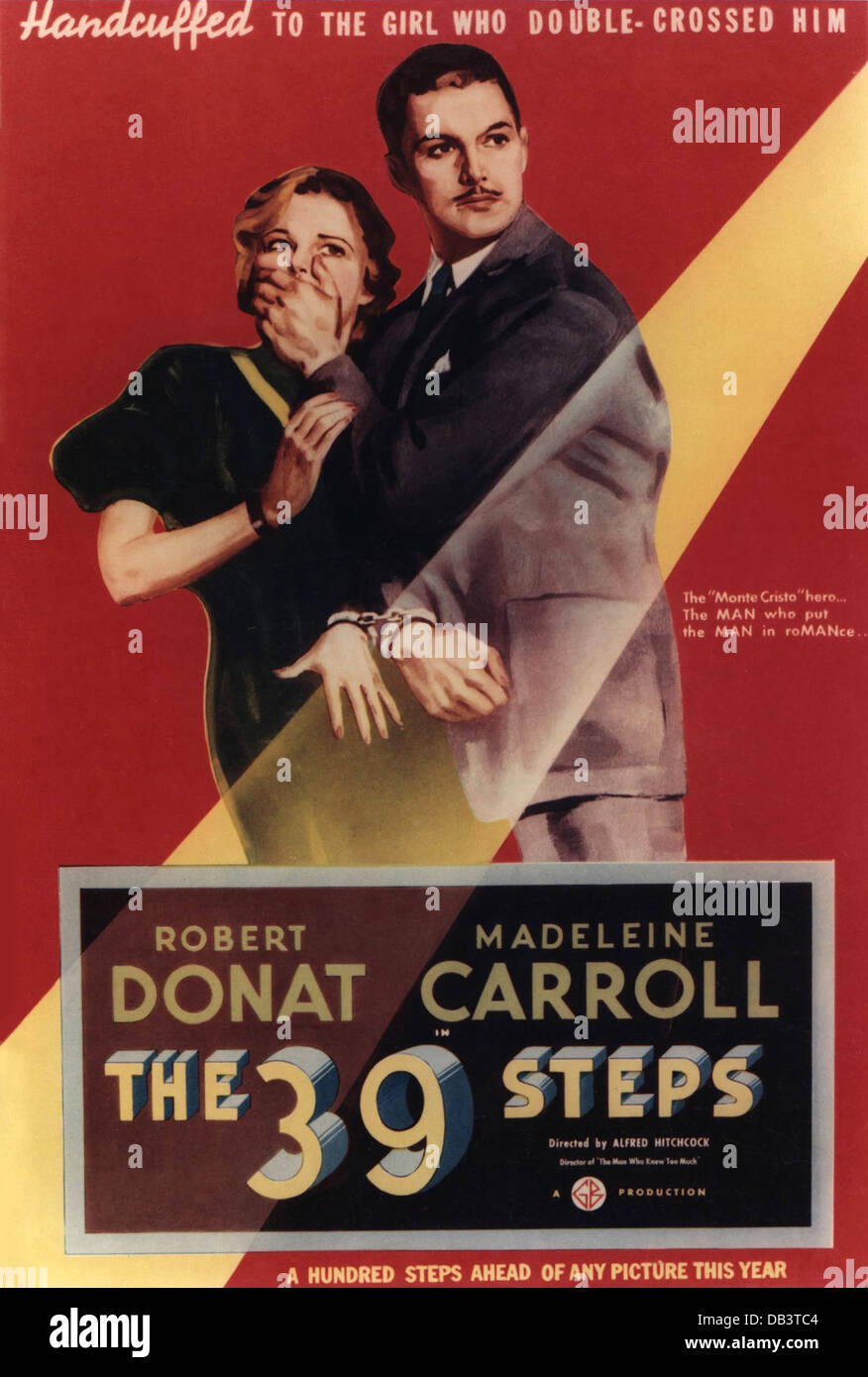 DIE 39 Schritte Gaumont-British Picture Corporation, 1935. Regie: Alfred Hitchcock. Filmplakat Stockbild