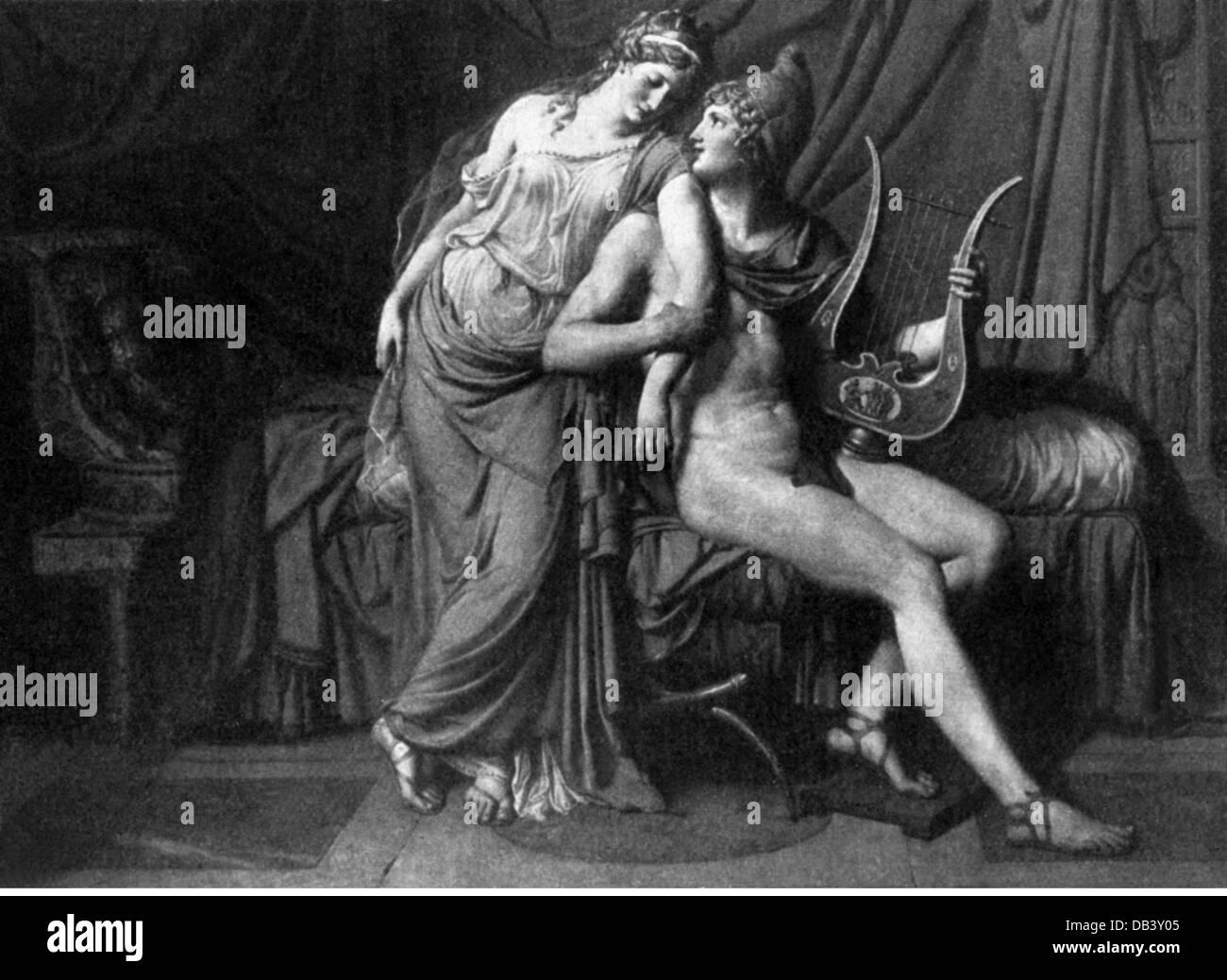 Paris-Sohn des Priamos von Troja griechische Sagengestalt in voller Länge mit Helen basierend auf Gemälde Stockbild