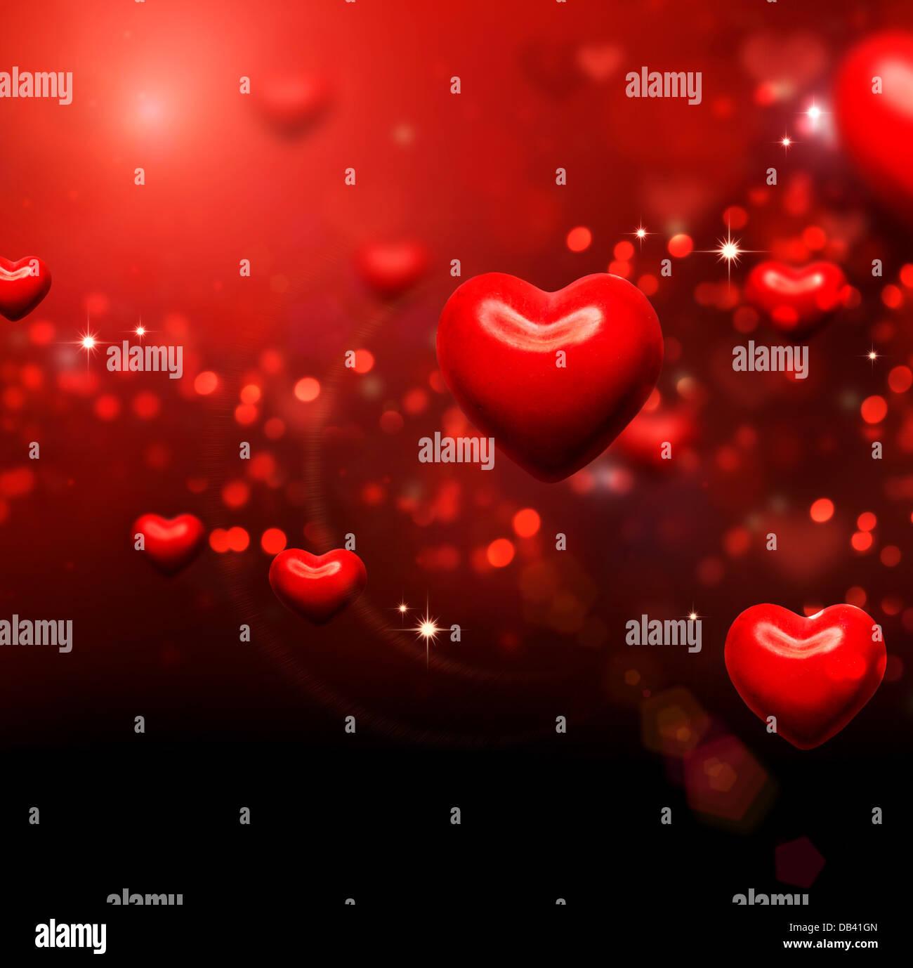 Valentine Herzen Hintergrund. Valentines rot abstrakt Wallpaper Stockbild